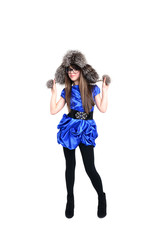 nice teen in fur hat with pompons