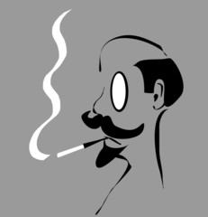 bald man with monocle smoking