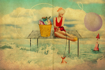 art collage with beautiful woman, retro style