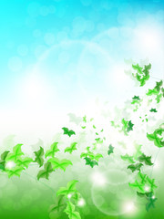 Spring Background with leaf Butterflies