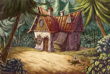 casa en medio del bosque Wall mural