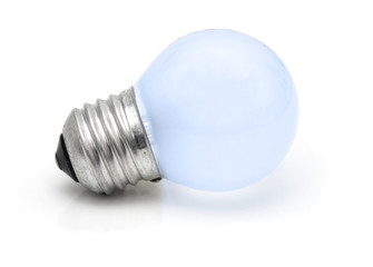 Small blue Light bulb isolated on white