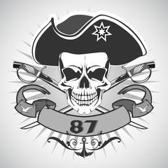 Skull pirate. Vector.