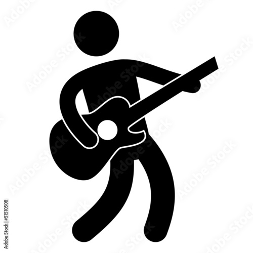 Quot Piktogramm Gitarre Gitarrist Vektor Icon Button