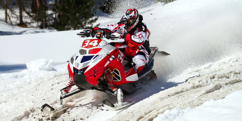 Fototapete - red & white skidoo