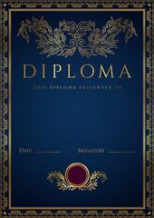 Vertical Blue Diploma / Certificate template. Golden border