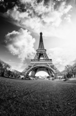 Wall Mural - Dramatic view of Eiffel Tower with Sky on Background