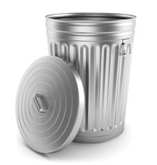 Open steel trash can