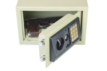 Open digital safe with gun and money