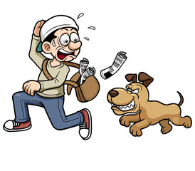 Vector illustration of paperboy running a dog