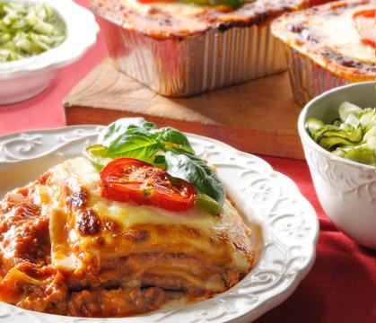 Lasagna-Beef lasagna cucumber side salad