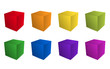 Bunte 3D-Würfel mit Aufsicht in Regenbogenfarben - Vektor