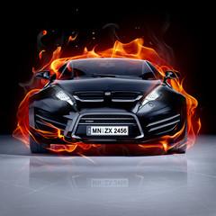Obraz premium Samochód strażacki na lodzie. Brandless sportowy samochód.