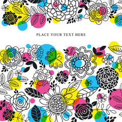 background of hand draw  flowers, vector