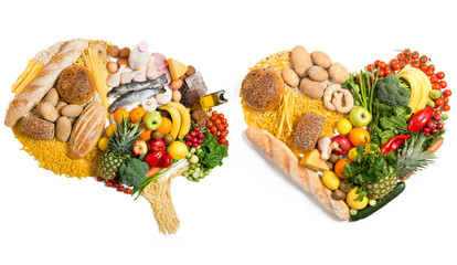 Food in a shape of a brain and heart on white background