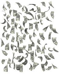 Dollars falling, isolated on white background