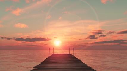 coucher du soleil sur le ponton