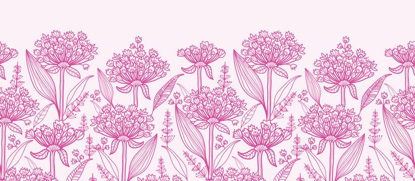 Vector pink lillies lineart horizontal border seamless pattern