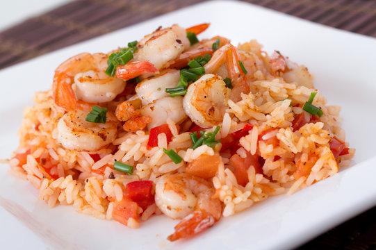 garlic shrimp on rice