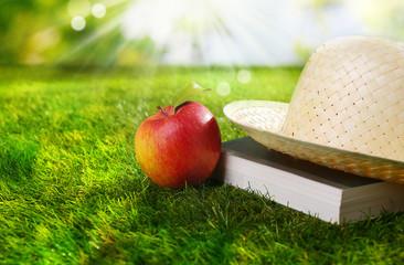 Sunhat, book and fresh apple