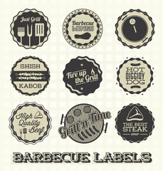 Vector Set: Vintage BBQ Labels and Icons
