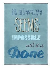 Fond de hotte en verre imprimé Affiche vintage Motivational poster