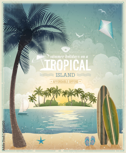 Wall mural Vintage seaside view poster. Vector background.