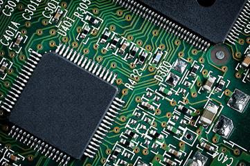 Green Microchip Close Up.