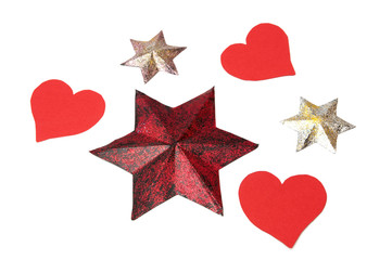 Colorful stars and hearts