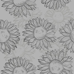 seamless pattern, sunflowers. Abstract gray, black and white.
