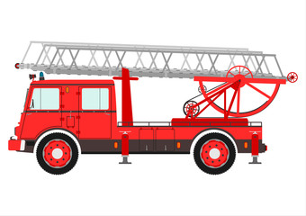 Fire truck with a ladder.