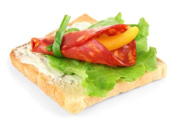 Salami rolls with paprika pieces inside,