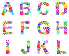 Spring Flower Alphabet Letters A-L