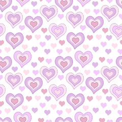 Seamless pattern with light pink hearts