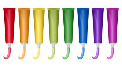 8 Farbtuben in Regenbogenfarben mit ausgedrückter Farbe
