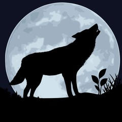 Wolf against the moon.
