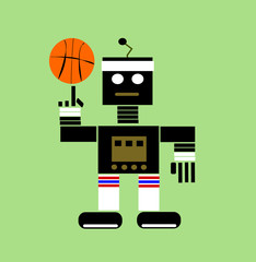 Poster de jardin Robots cartoon robot playing basketball