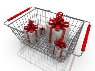 Подарочные коробки с красным бантом в продуктовой корзине