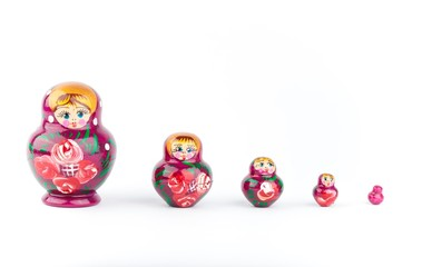Russian doll isolated on a white backgrounds