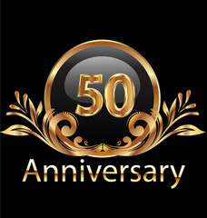 50 years anniversary birthday in gold