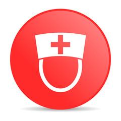 nurse red circle web glossy icon