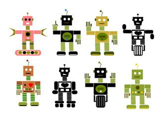 Spoed Foto op Canvas Robots vintage cartoon robot collection