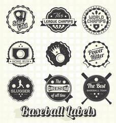 Vector Set: Retro Baseball League Champion Labels