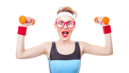 Expressive woman ready for gym