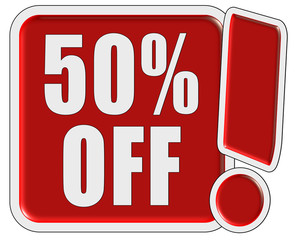 !-Schild rot quad 50 % OFF