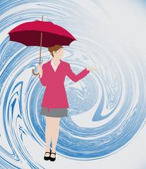 Silhouette de femme tenant un parapluie