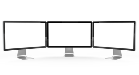 Three modern monitor isolated on white