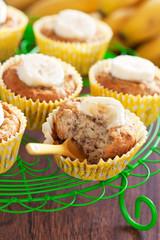 Homemade vegan banana muffins, selective focus