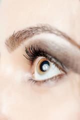 Macro shot of woman's eye with long eyelashes look