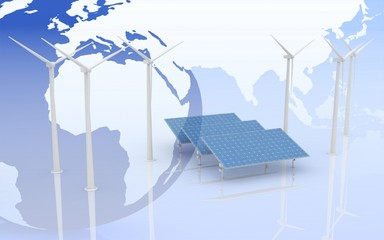 Windmill and Solar Panels on world map background